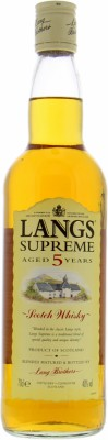 Langs 5 Years Old Supreme Age statement on main label 43%Lang Brothers Ltd. -